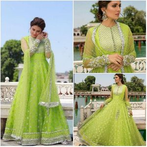 Embroidered Green Gown
