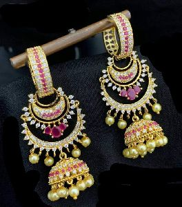 American Diamond Jhumka Earring