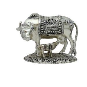 Silver Plated Cow Statue