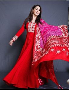 Designer Red Anarkali Kurti With Dupatta