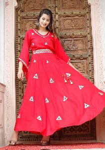 Rayon Golden Printed Anarkali Kurti