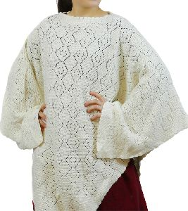 Off White Merino Knitted Poncho
