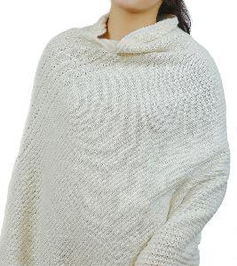 White Merino Knitted Poncho
