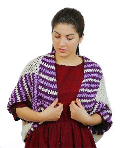 White & Purple Merino Knitted Shrug