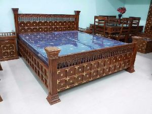 Wooden maharaja brass raj Bed