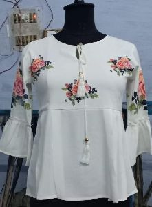 Ladies White Frill Top