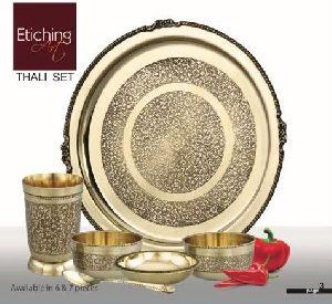 Etching Brass Thali Set