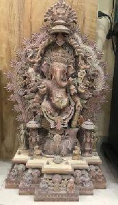 Pink Stone Ganesha Standing Statue