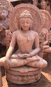 Swami Mahavir Jain Pink Stone Statue