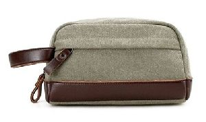 Canvas Leather Cosmetic Pouch
