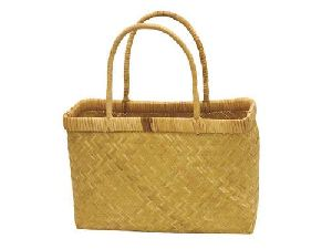 Cane Round Basket With Handle