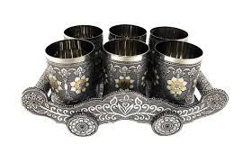 Oxidized Meenakari Glass Tray Set