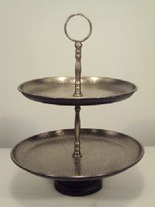 2 Tier  Hammared Cake Stand