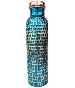 Blue Hammared Copper Bottle