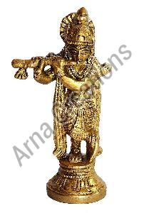 Brass Flute Playing Krishna Statue