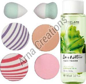 Oriflame Sweden Love Nature Face Toner Aloe Vera with Puff Sponge Combo