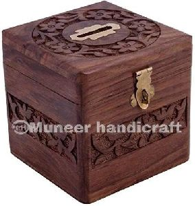 Wooden Square Coin Box