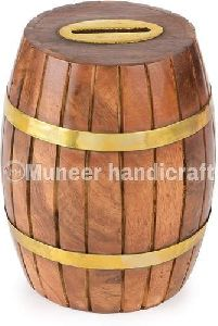 Wooden Barrel Shaped Coin Bank