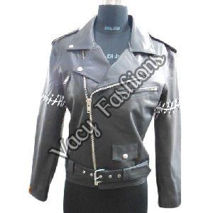 Ladies Black Biker Leather Jacket