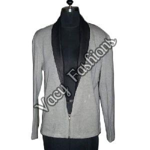 Ladies Black & Grey Wool & Goat Leather Jacket