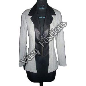 Ladies Black & White Wool & Goat Leather Jacket