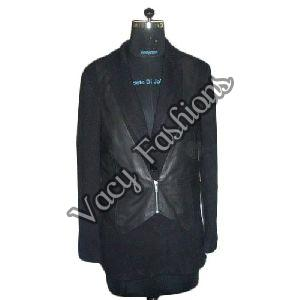 Ladies Black Wool & Goat Leather Jacket
