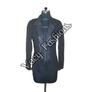 Ladies Black Zipper Wool & Goat Leather Jacket