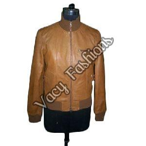Ladies Brown Polo Neck Leather Jacket