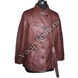 Ladies Casual Leather Coat