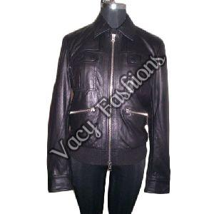 Ladies Full Sleeve Black Leather Jacket