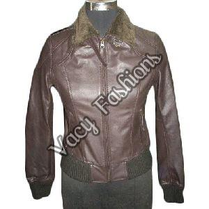 Ladies Full Sleeve Brown Leather Jacket
