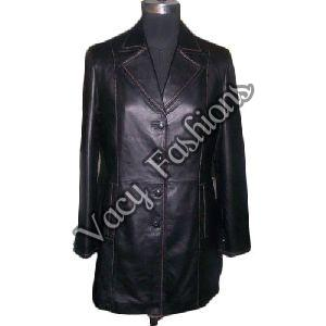 Ladies Long Leather Trench Coat