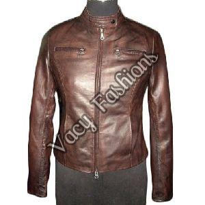 Ladies Zipper Leather Jacket