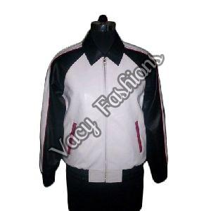 Mens Black &  White Goat Leather Jacket