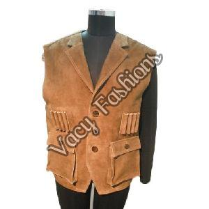 Mens Sleeveless Leather Jacket