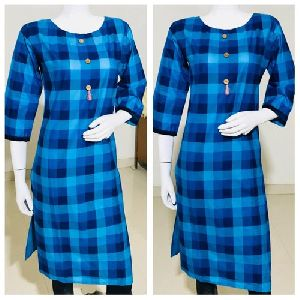 Checkered Cotton Kurtis