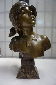 Metal Female Bust Statue
