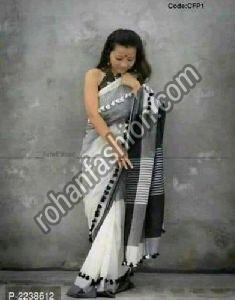Khadi Cotton Pom Pom Saree