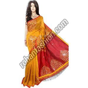Party Wear Mirror Work Saree