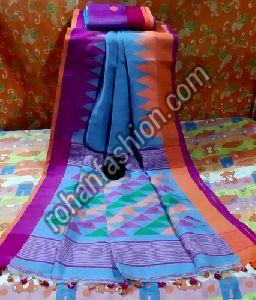 Temple Border Linen Saree