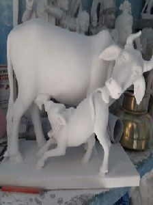 Marble Cow with Calf Statue