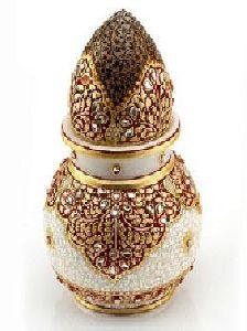 Marble Gold Embossed Kalash With Nariyal