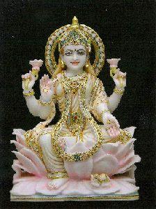 White Marble Dhanlaxmi Statue