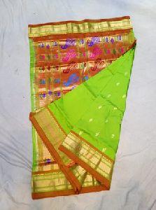 Green Silk Paithani Sarees