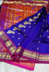 Light Blue Silk Paithani Sarees
