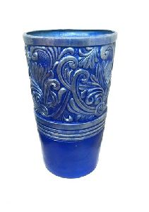 FRP Blue Embroidered Planter