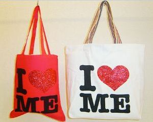 Glitter Printed Canvas Tote Bag
