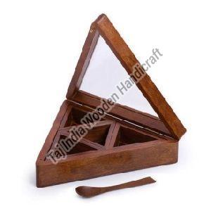 Wooden Triangular Spice Box