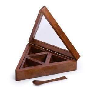 Wooden Triangular Spice Box