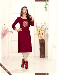 Alisha Fashion Kanika Rayon Embroidered Stitched Kurtis